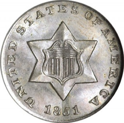 Silver Three Cent, No Outlines to Star (1851-1853)