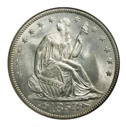Seated Liberty Half Dollars, First Arrows at Date - Reverse Rays (1853)