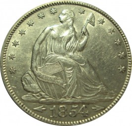 Seated Liberty Half Dollars, Reverse Rays Removed (1854-1855)