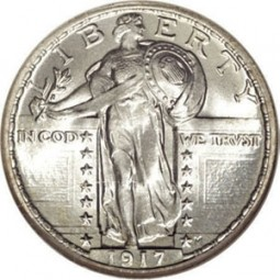 Standing Liberty Quarter Dollars, Type 1 (1916-1917)