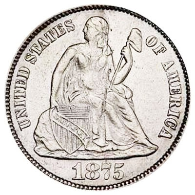 Seated Liberty Dimes, Second Arrows at Date Removed (1875-1891)