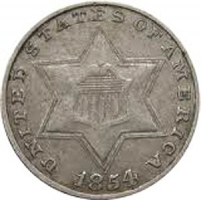 Silver Three Cent, Three Outlines to Star (1854-1858)