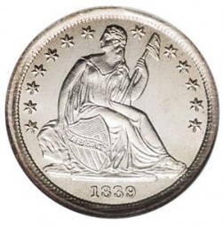 Seated Liberty Dimes, Drapery Added to Liberty (1840-1853)