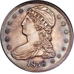 Liberty Cap Half Dollars, Half Dol on Reverse (1838-1839)