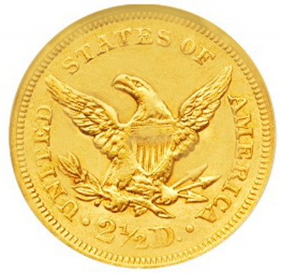 Coronet Head Gold Eagle, New Style Head No Motto (1839-1866)