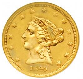 Coronet Head Quarter Eagle, Early Matron Gold Coins (1840-1907)