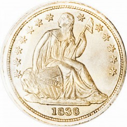 Seated Liberty Dimes, Stars Around Rim (1838-1840)