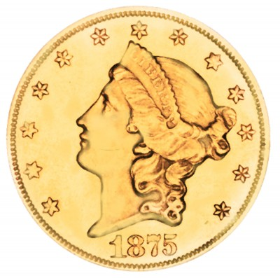 Coronet Head Gold Double Eagle, Twenty D - With Motto (1866-1876)