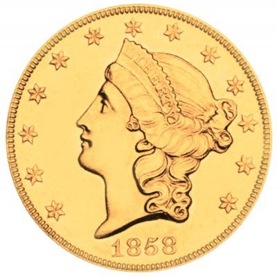 Coronet Head Gold Double Eagle, Twenty D - No Motto (1849-1866)