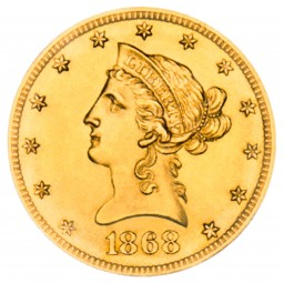 Coronet Head Gold Eagle, New Style Head With Motto (1866-1907)