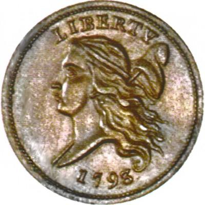 Liberty Cap Half Penny Head Facing Left 1793 Liberty