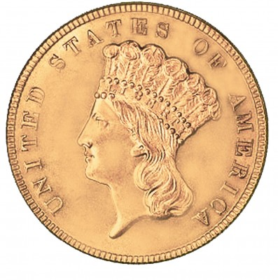 Indian Princess Head Three Dollars, Early Gold Coins (1854-1889)