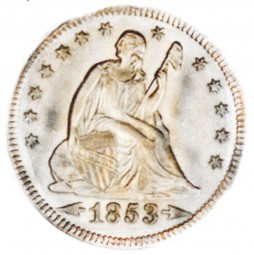 Seated Liberty Quarter Dollars, First Arrows at Date - Reverse Rays (1853)