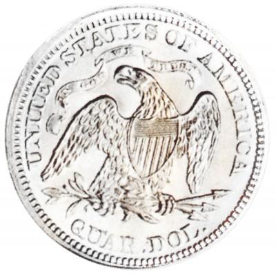 Seated Liberty Quarter Dollars, Motto Above Eagle (1866-1873)