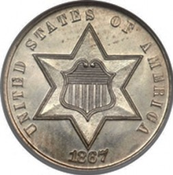 Silver Three Cent, Two Outlines to Star (1859-1873)