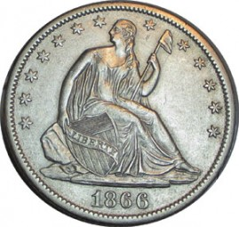 Seated Liberty Half Dollars, Motto Above Eagle (1866-1873)