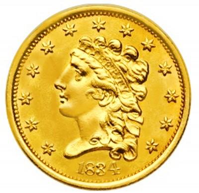 Liberty Without Turban Quarter Eagle, No Turban Liberty (1834-1839)