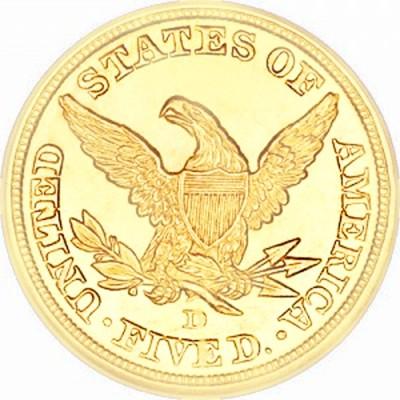 Coronet Head Half Eagle, No Motto (1839-1866)