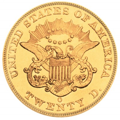 Coronet Head Gold Double Eagle, Twenty D - No Motto (1849-1866)