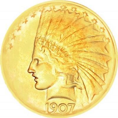 Indian Head Gold Eagle, No Motto (1907-1908)