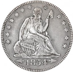 Seated Liberty Quarter Dollars, Reverse Rays Removed (1854-1855)
