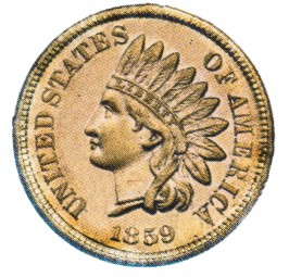 Indian Head Cent, Copper-Nickel Composite Penny (1859-1864)